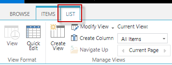 Go to your list/Document library , in the ribbon click on List