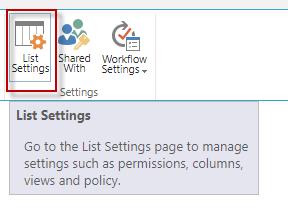 Click on List Settings