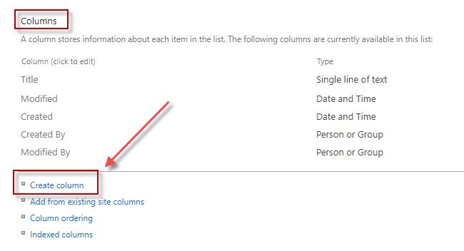 Under Columns section, click Create column