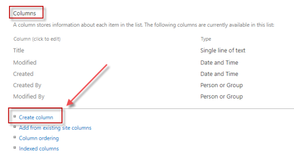 Under Columns section, click Create column